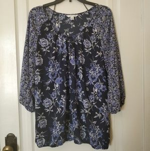 Blue flower peasant top Size L